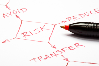 Risk management flow chart on paper